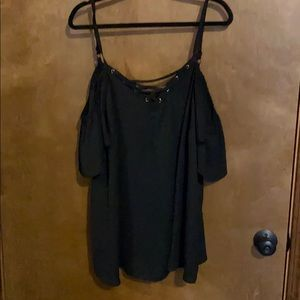 Flirty off the shoulder black blouse